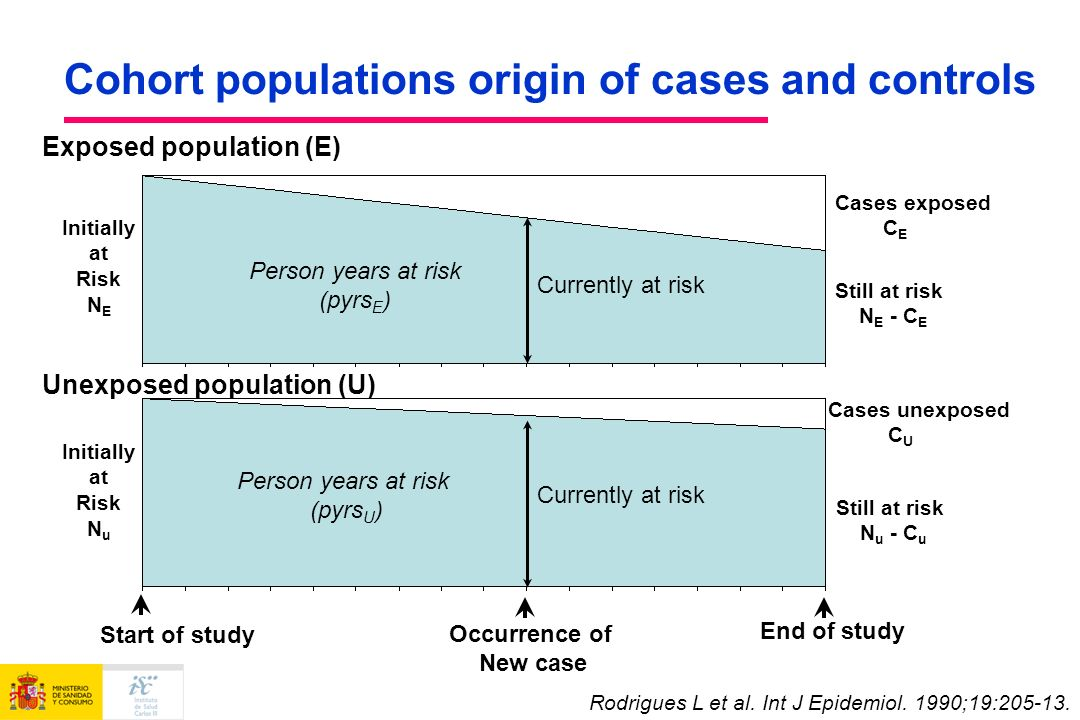 Cohort populations origin of cases and controls Currently at risk Cases exposed C E Start of study End of study Currently at risk Person years at risk