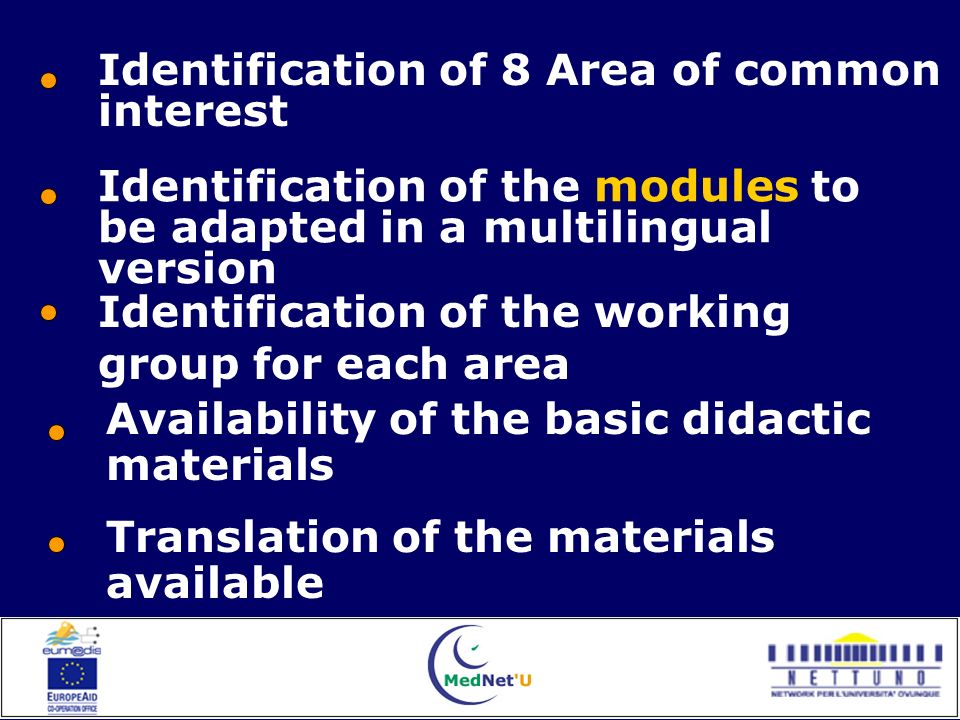 Availability of the basic didactic materials Translation of the materials available Identification of 8 Area of common interest Identification of the working group for each area Identification of the modules to be adapted in a multilingual version