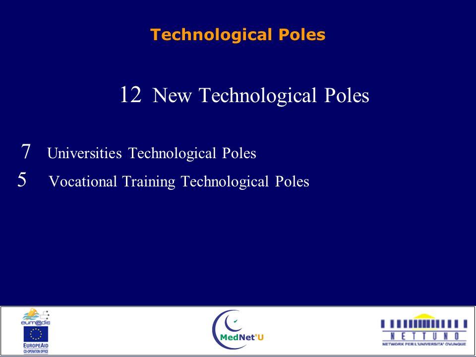 Technological Poles 12 New Technological Poles 7 Universities Technological Poles 5 Vocational Training Technological Poles