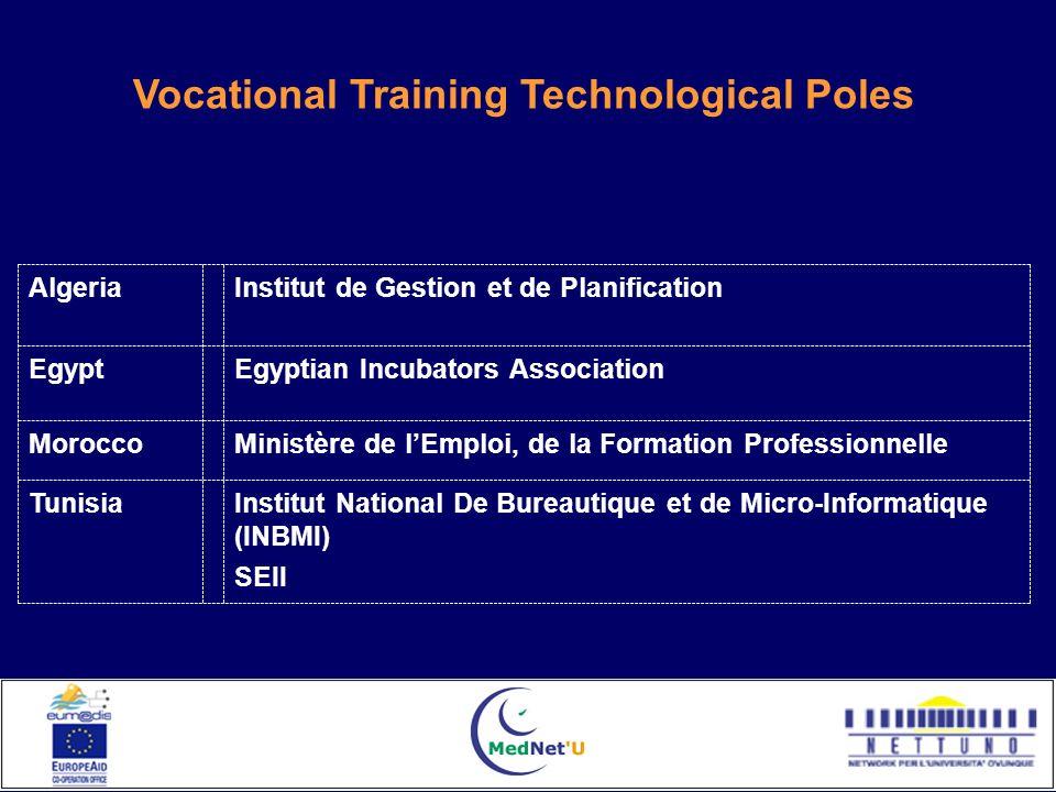 Institut National De Bureautique et de Micro-Informatique (INBMI) SEII Tunisia Ministère de lEmploi, de la Formation ProfessionnelleMorocco Egyptian I