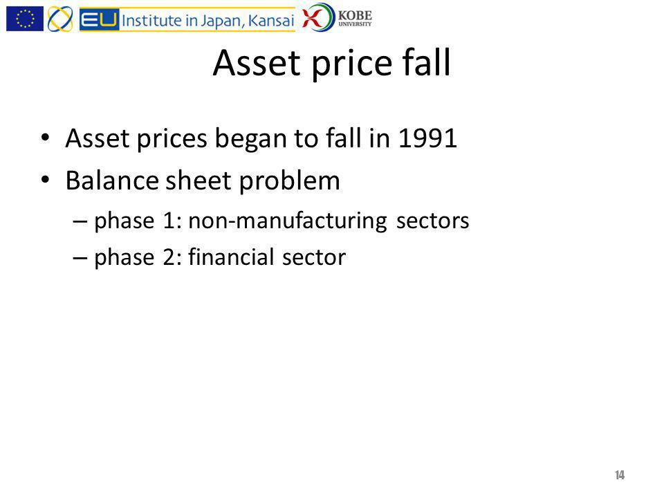 Asset price fall Asset prices began to fall in 1991 Balance sheet problem – phase 1: non-manufacturing sectors – phase 2: financial sector 14