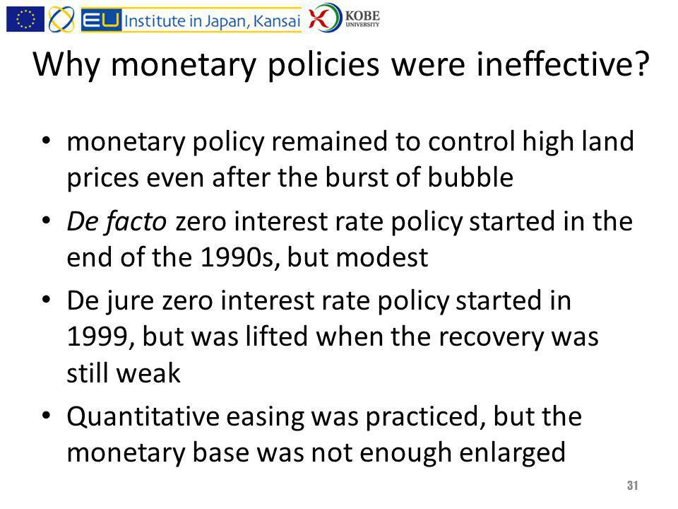 Why monetary policies were ineffective.