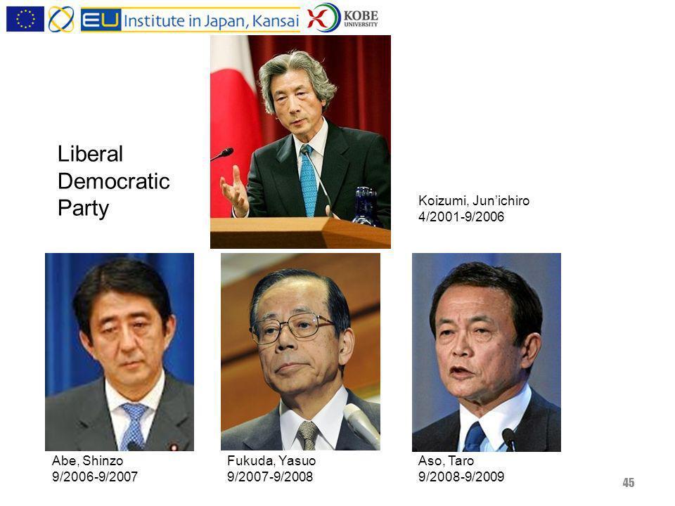 45 Koizumi, Junichiro 4/2001-9/2006 Abe, Shinzo 9/2006-9/2007 Fukuda, Yasuo 9/2007-9/2008 Aso, Taro 9/2008-9/2009 Liberal Democratic Party