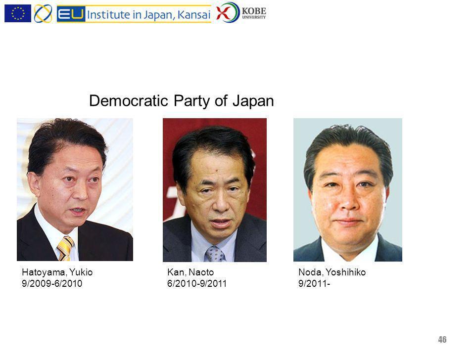 46 Noda, Yoshihiko 9/2011- Kan, Naoto 6/2010-9/2011 Hatoyama, Yukio 9/2009-6/2010 Democratic Party of Japan