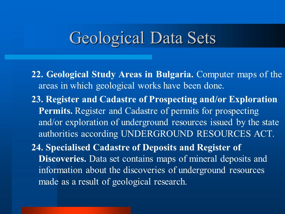 Geological Data Sets 22.Geological Study Areas in Bulgaria.