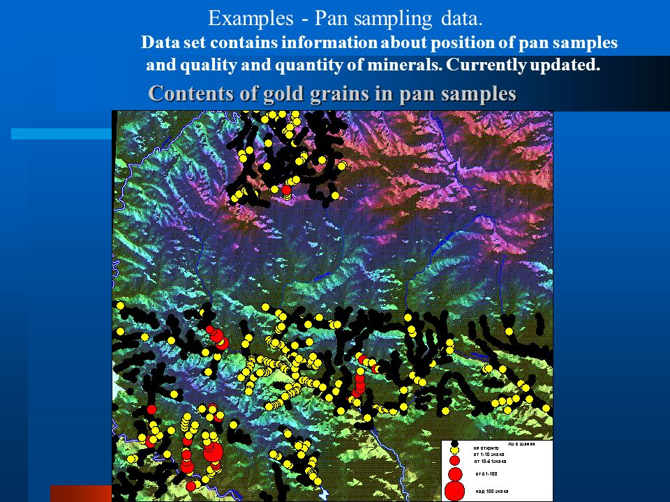 Contents of gold grains in pan samples Examples - Pan sampling data. Data set contains information about position of pan samples and quality and quant