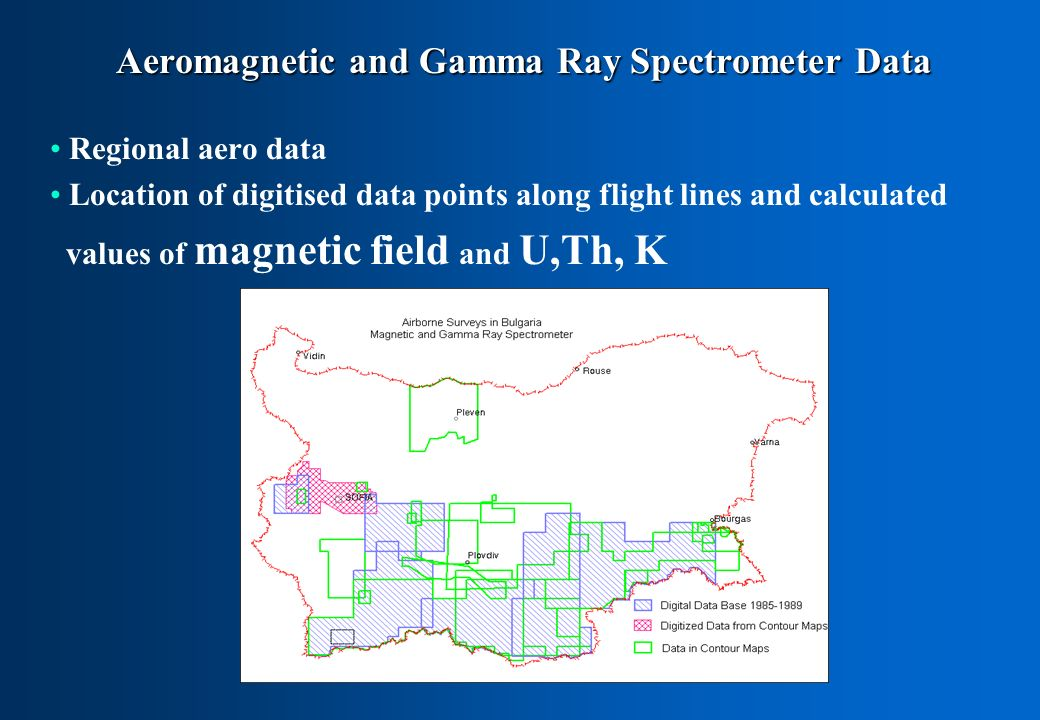 Aeromagnetic and Gamma Ray Spectrometer Data Regional aero data Location of digitised data points along flight lines and calculated values of magnetic