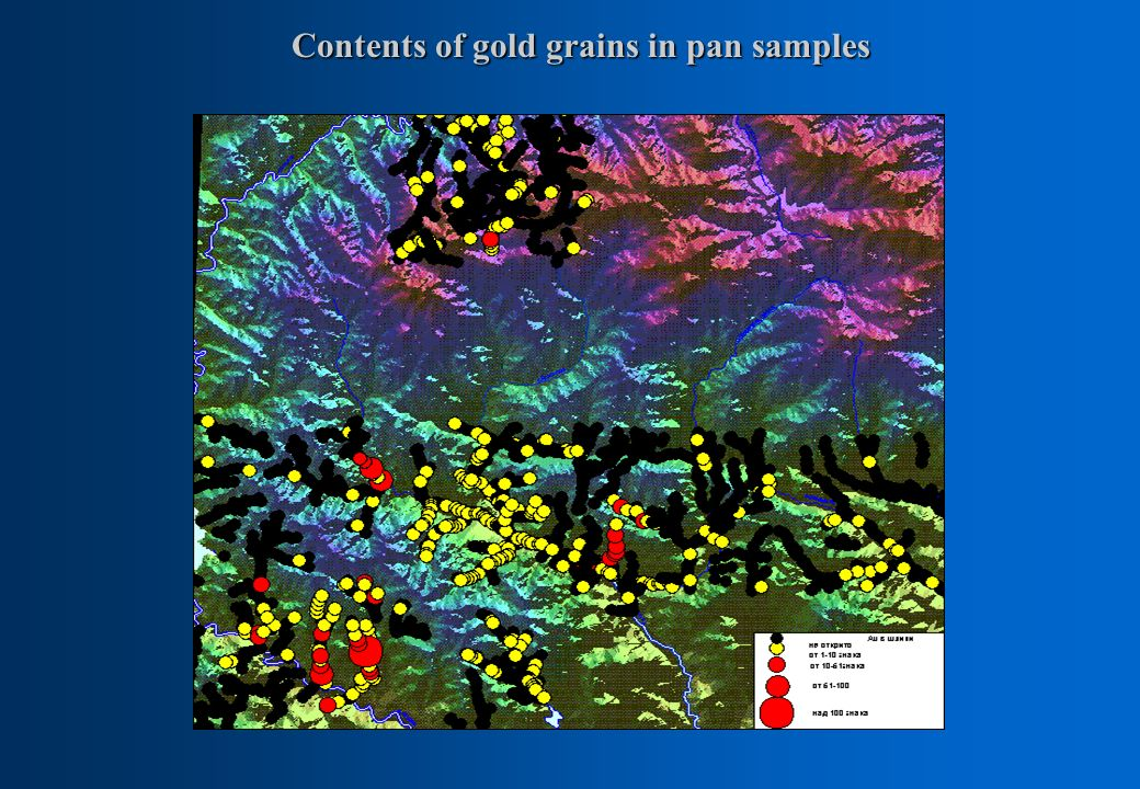 Contents of gold grains in pan samples