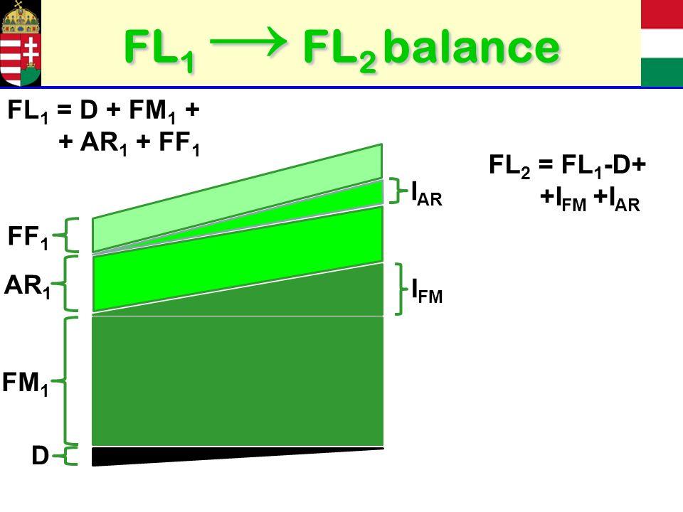 FL 1 FL 2 balance FM 1 I FM AR 1 I AR D FF 1 FL 1 = D + FM 1 + + AR 1 + FF 1 FL 2 = FL 1 -D+ +I FM +I AR