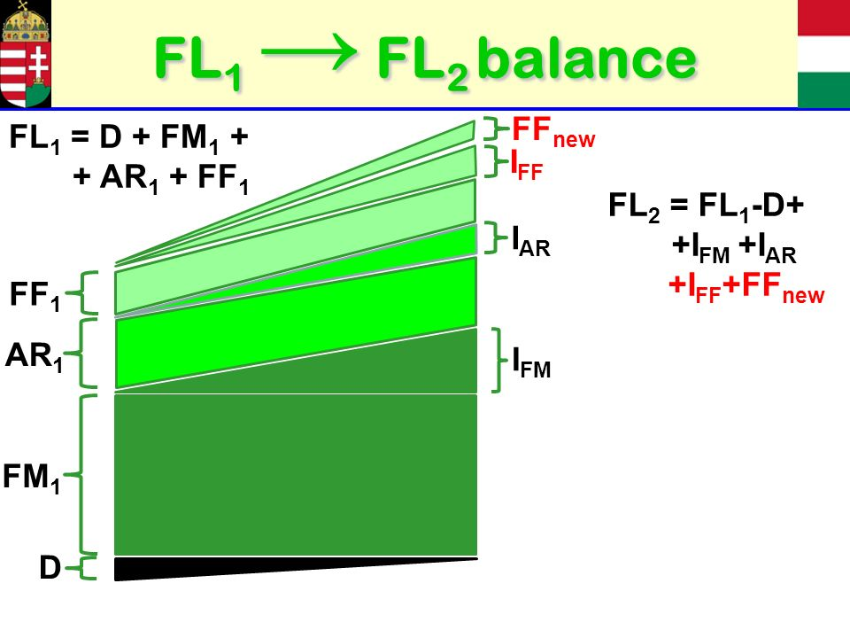 FL 1 FL 2 balance FM 1 I FM AR 1 I AR D FF 1 I FF FF new FL 1 = D + FM 1 + + AR 1 + FF 1 FL 2 = FL 1 -D+ +I FM +I AR +I FF +FF new