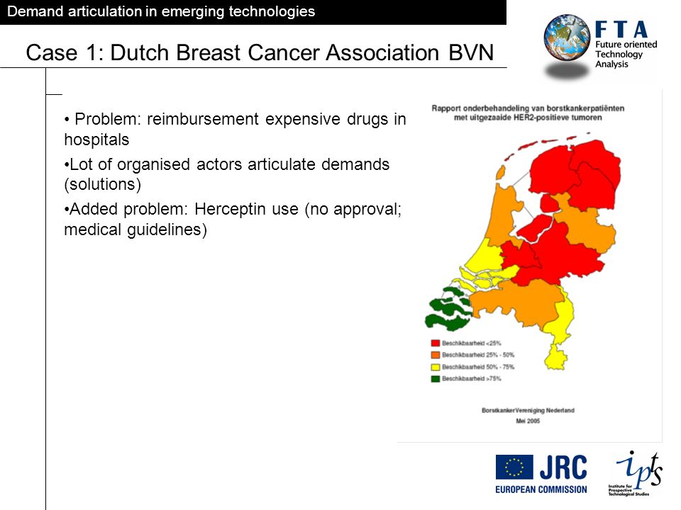 Demand articulation in emerging technologies Case 1: Dutch Breast Cancer Association BVN Problem: reimbursement expensive drugs in hospitals Lot of or