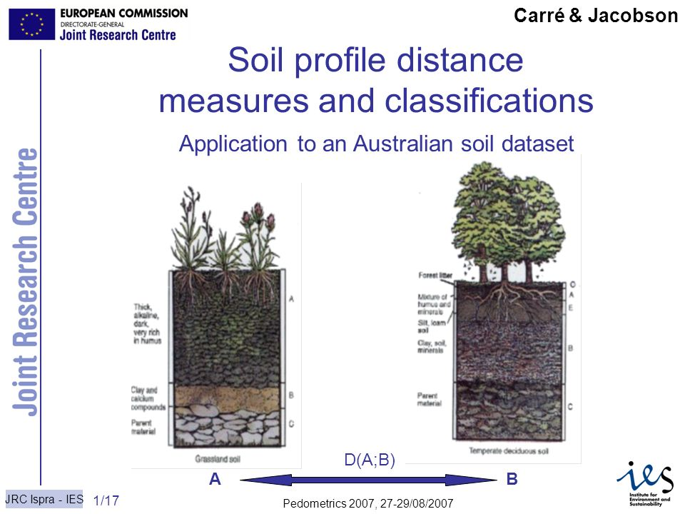 JRC Ispra - IES 1/17 Carré & Jacobson Soil profile distance measures and classifications A B Carré & Jacobson D(A;B) Application to an Australian soil