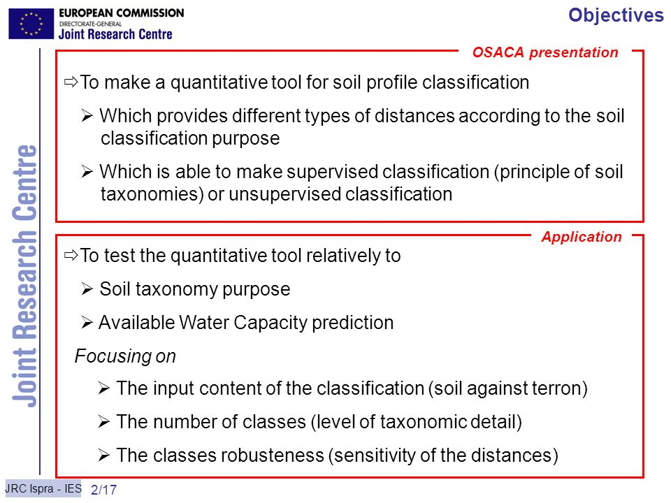 JRC Ispra - IES 2/17 Carré & Jacobson Objectives To make a quantitative tool for soil profile classification Which provides different types of distanc