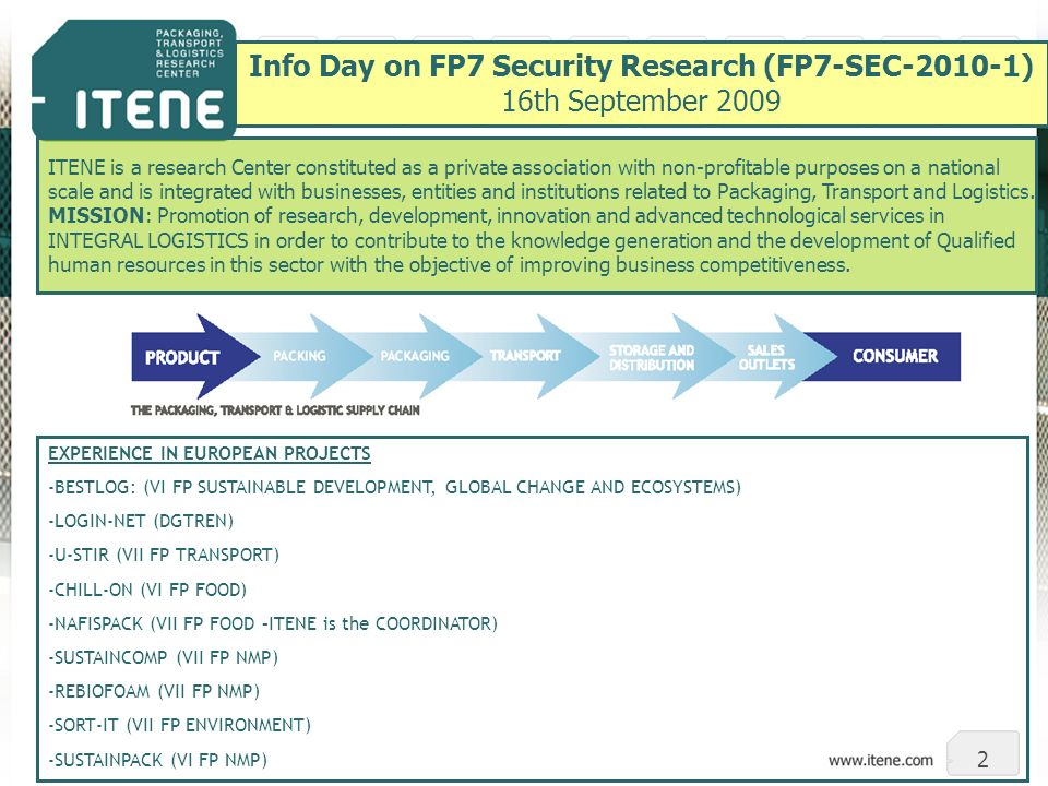 2 Info Day on FP7 Security Research (FP7-SEC-2010-1) 16th September 2009 ITENE is a research Center constituted as a private association with non-profitable purposes on a national scale and is integrated with businesses, entities and institutions related to Packaging, Transport and Logistics.