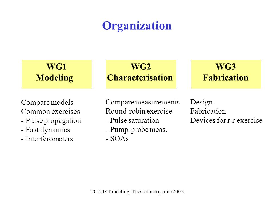 TC-TIST meeting, Thessaloniki, June 2002 Organization WG1 Modeling WG2 Characterisation WG3 Fabrication Compare models Common exercises - Pulse propag
