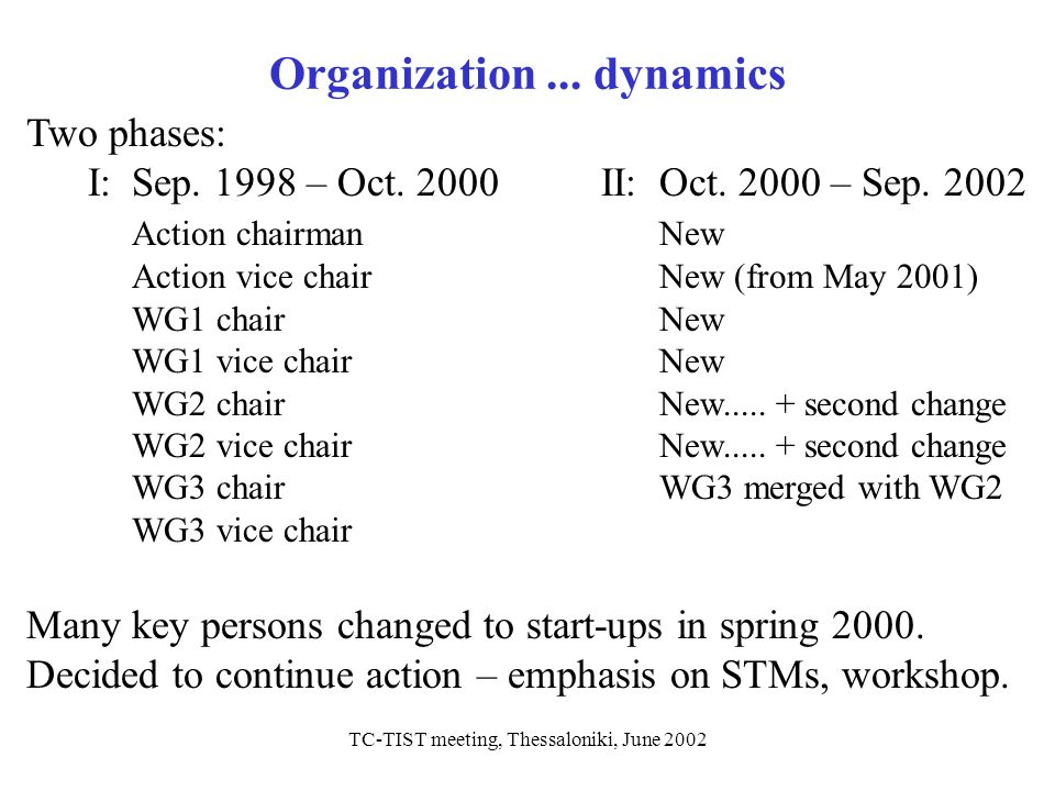 TC-TIST meeting, Thessaloniki, June 2002 Organization... dynamics Two phases: I:Sep. 1998 – Oct. 2000 II:Oct. 2000 – Sep. 2002 Action chairmanNew Acti