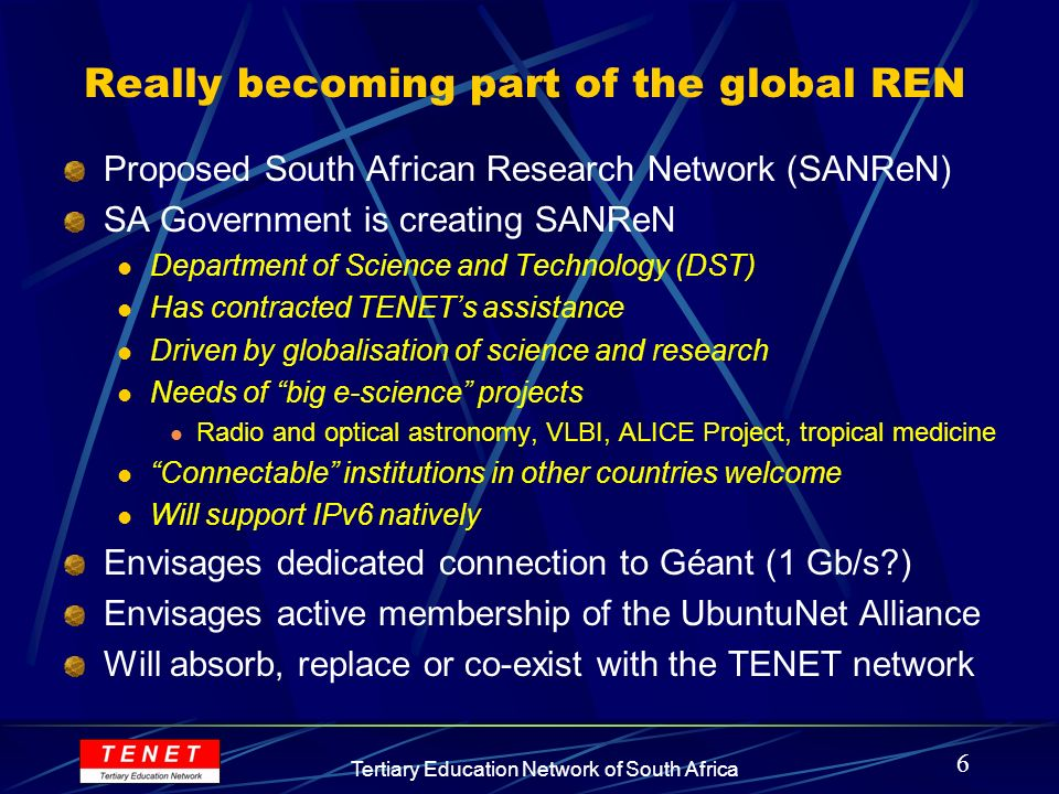 7 Tertiary Education Network of South Africa