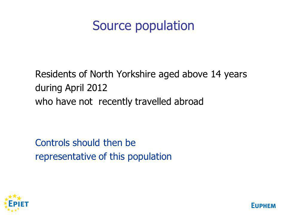 Source population Residents of North Yorkshire aged above 14 years during April 2012 who have not recently travelled abroad Controls should then be re