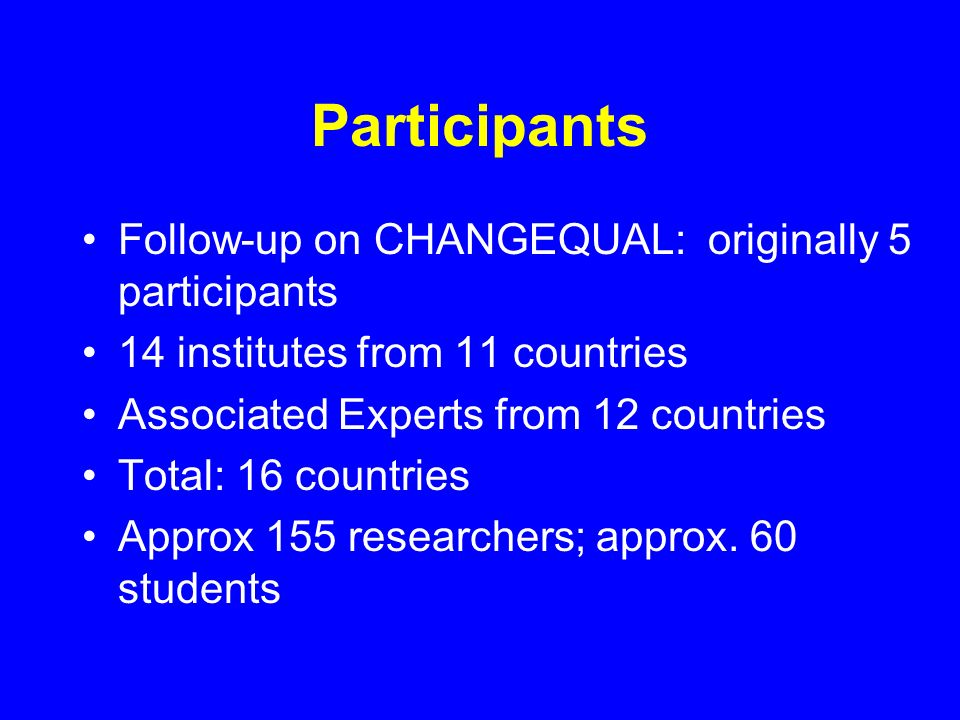 Participants Follow-up on CHANGEQUAL: originally 5 participants 14 institutes from 11 countries Associated Experts from 12 countries Total: 16 countries Approx 155 researchers; approx.