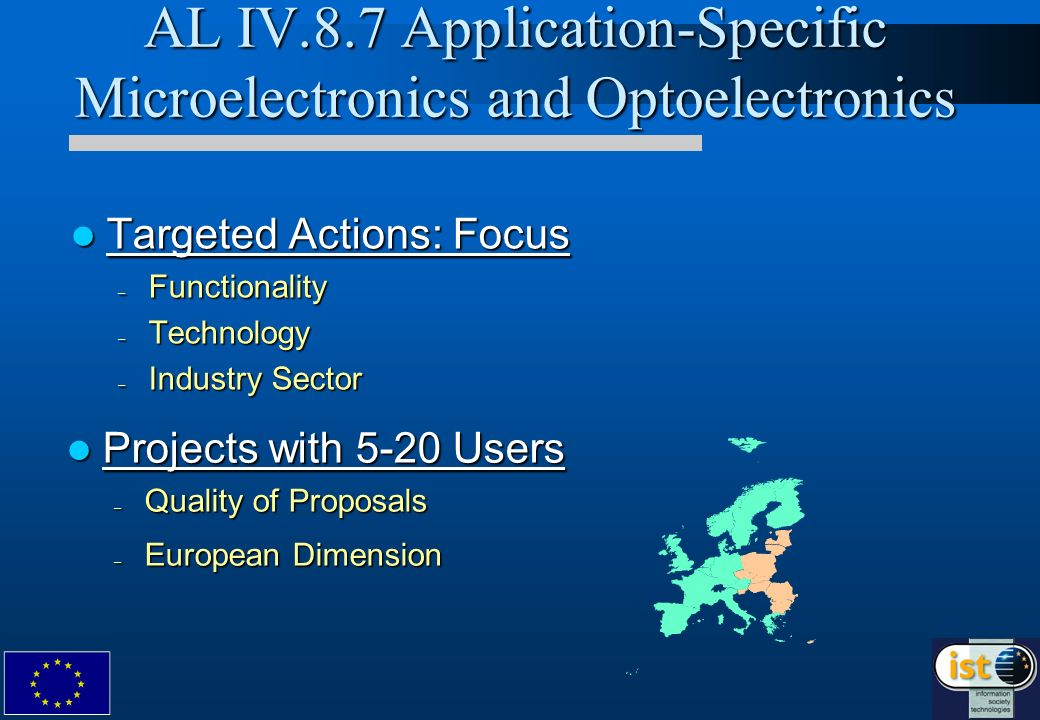 Targeted Actions: Focus Targeted Actions: Focus – Functionality – Technology – Industry Sector AL IV.8.7 Application-Specific Microelectronics and Opt