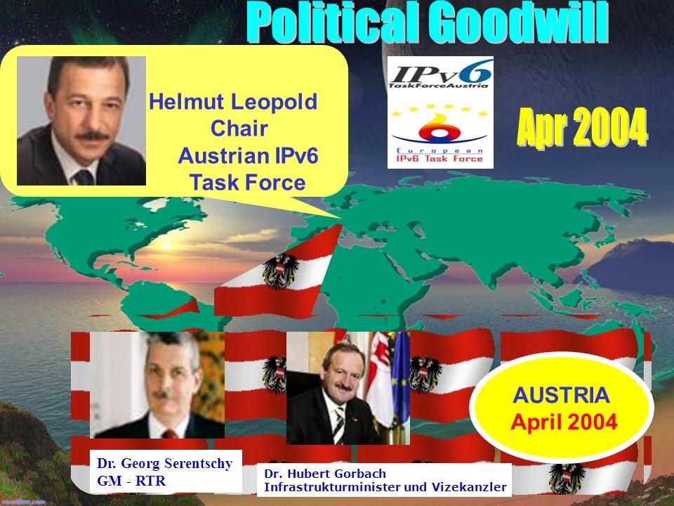 Helmut Leopold Chair Austrian IPv6 Task Force Dr.Georg Serentschy GM - RTR Dr.