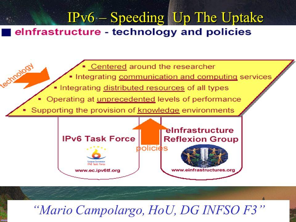 IPv6 – Speeding Up The Uptake Mario Campolargo, HoU, DG INFSO F3