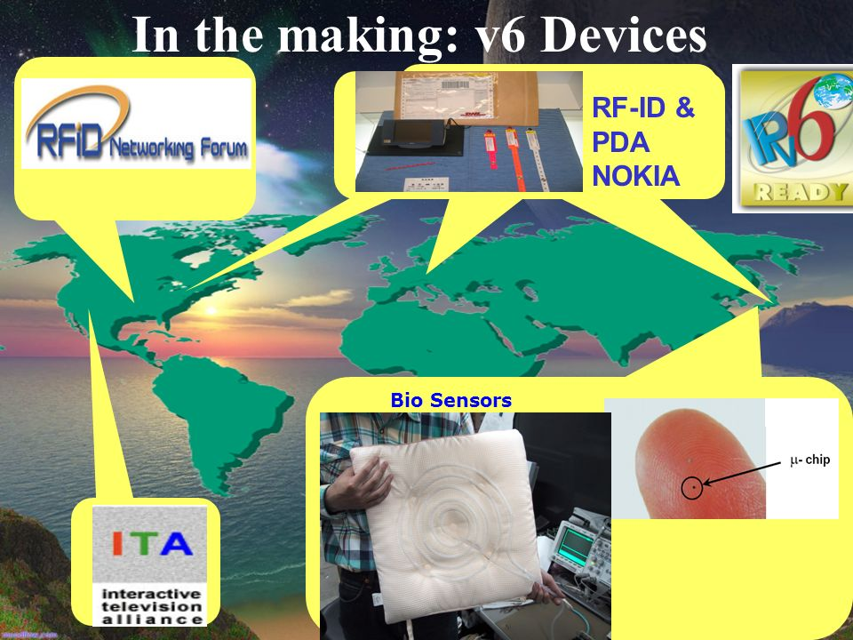 In the making: v6 Devices Bio Sensors RF-ID & PDA NOKIA