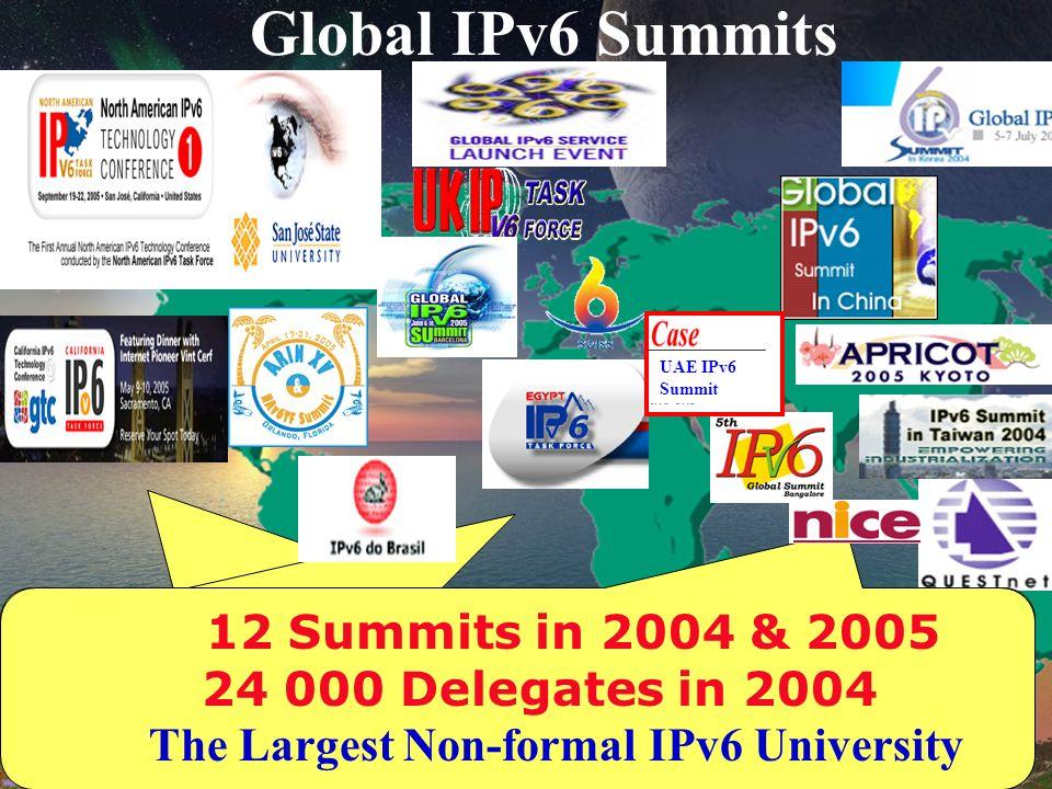Global IPv6 Summits UAE IPv6 Summit 12 Summits in 2004 24 000 Delegates in 2004 The Largest Non-formal IPv6 University 12 Summits in 2004 24 000 Delegates in 2004 The Largest Non-formal IPv6 University 12 Summits in 2004 & 2005 24 000 Delegates in 2004 The Largest Non-formal IPv6 University