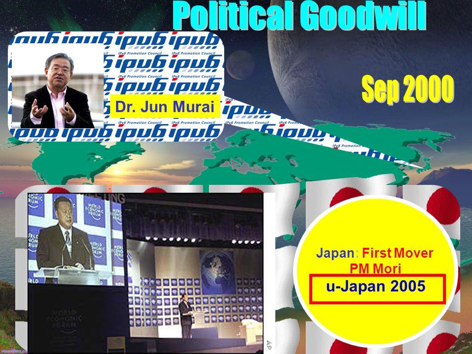 Japan: First Mover PM Mori u-Japan 2005 Dr. Jun Murai