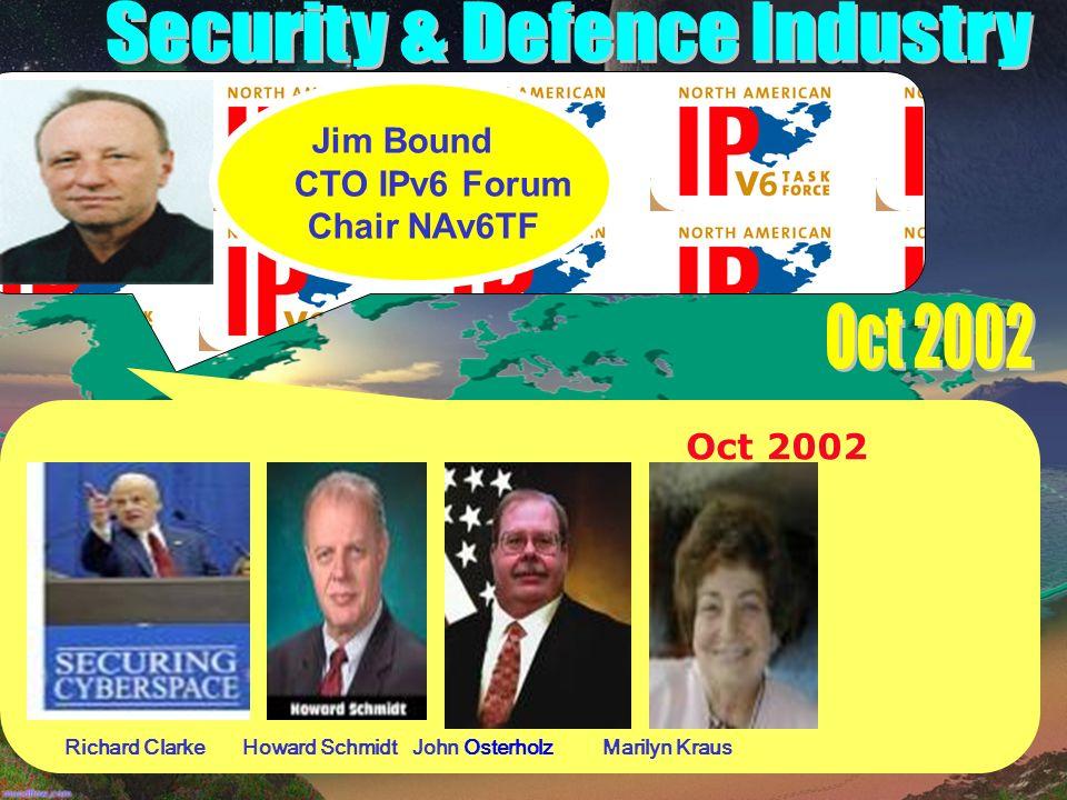 Oct 2002 Richard Clarke Howard Schmidt John Osterholz Marilyn Kraus Jim Bound CTO IPv6 Forum Chair NAv6TF