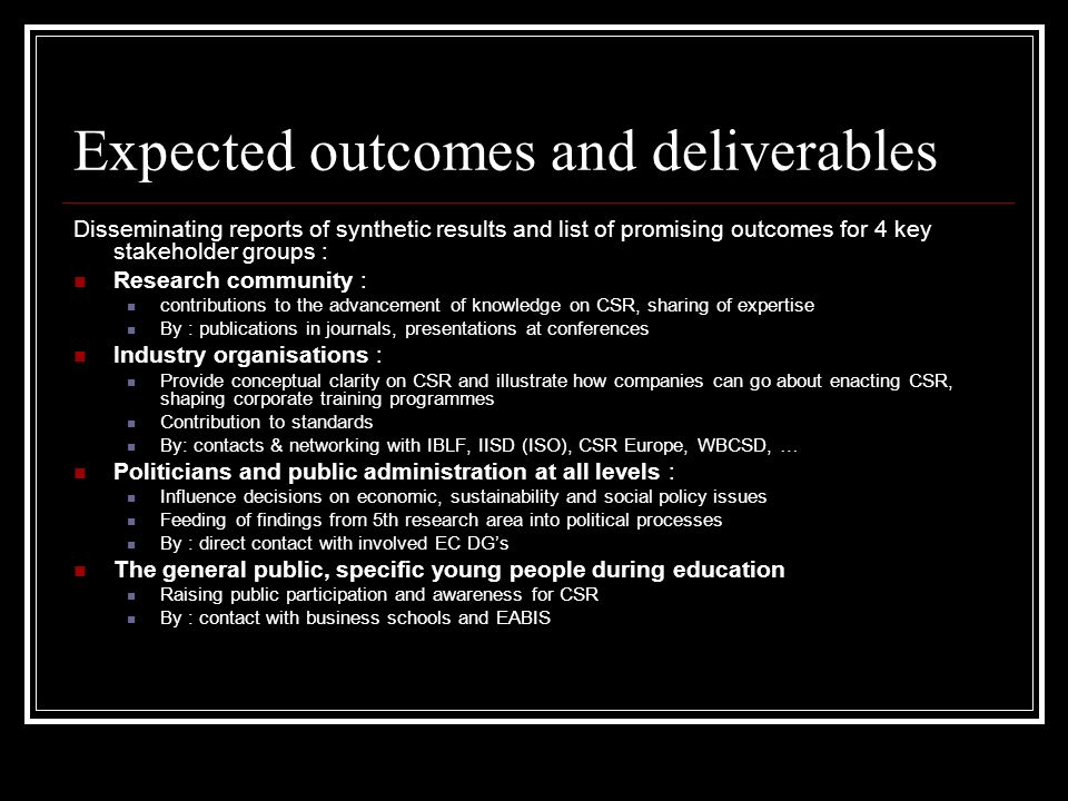Expected outcomes and deliverables Disseminating reports of synthetic results and list of promising outcomes for 4 key stakeholder groups : Research community : contributions to the advancement of knowledge on CSR, sharing of expertise By : publications in journals, presentations at conferences Industry organisations : Provide conceptual clarity on CSR and illustrate how companies can go about enacting CSR, shaping corporate training programmes Contribution to standards By: contacts & networking with IBLF, IISD (ISO), CSR Europe, WBCSD, … Politicians and public administration at all levels : Influence decisions on economic, sustainability and social policy issues Feeding of findings from 5th research area into political processes By : direct contact with involved EC DGs The general public, specific young people during education Raising public participation and awareness for CSR By : contact with business schools and EABIS
