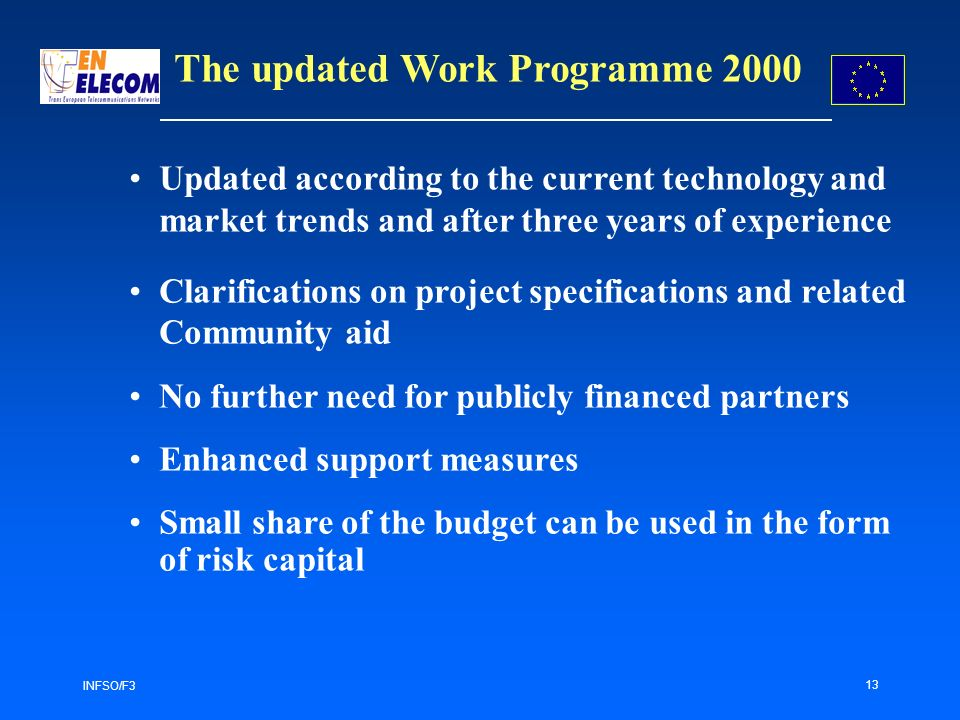 INFSO/F3 13 Updated according to the current technology and market trends and after three years of experience Clarifications on project specifications and related Community aid No further need for publicly financed partners Enhanced support measures Small share of the budget can be used in the form of risk capital The updated Work Programme 2000