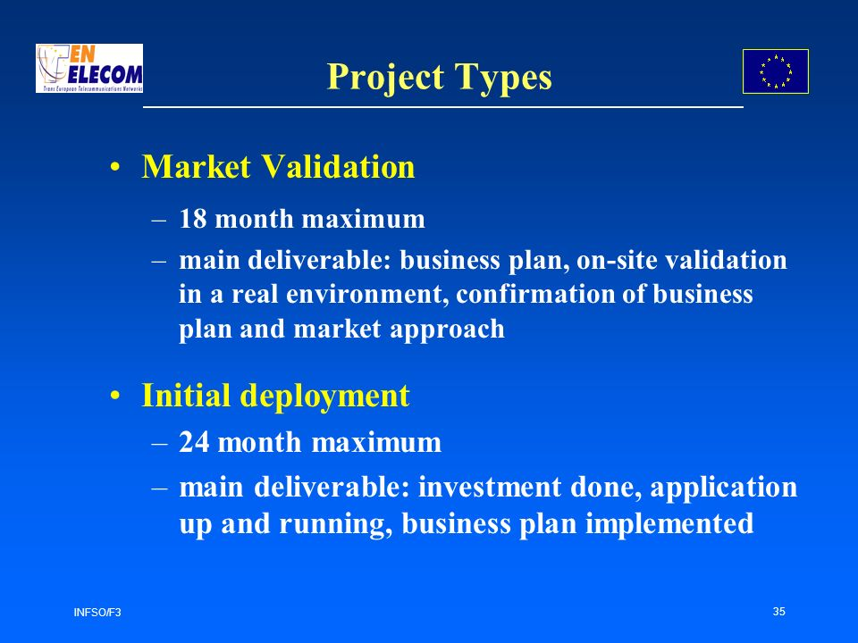 INFSO/F3 35 Project Types Market Validation –18 month maximum –main deliverable: business plan, on-site validation in a real environment, confirmation of business plan and market approach Initial deployment –24 month maximum –main deliverable: investment done, application up and running, business plan implemented