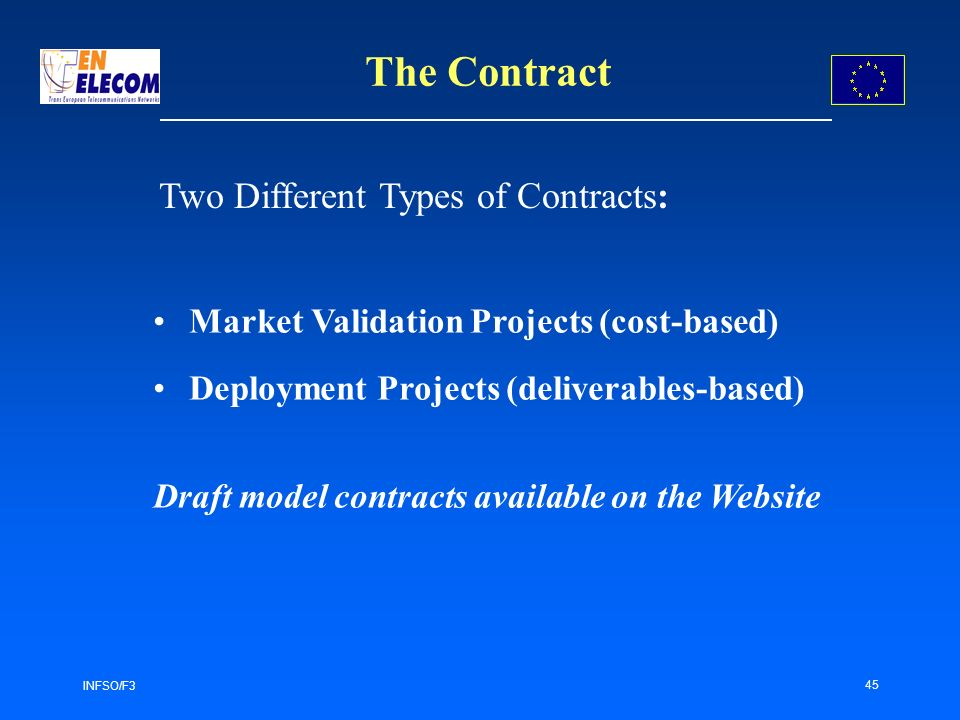 INFSO/F3 45 The Contract Market Validation Projects (cost-based) Deployment Projects (deliverables-based) Draft model contracts available on the Website Two Different Types of Contracts: