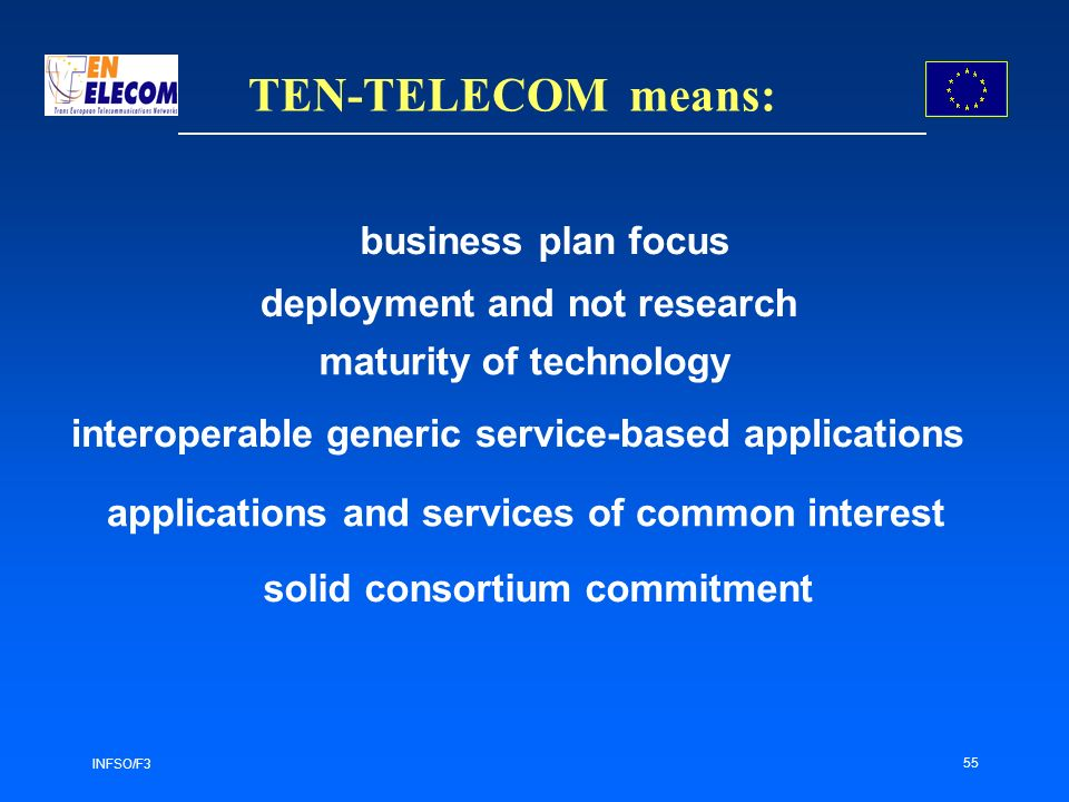 INFSO/F3 55 TEN-TELECOM means: business plan focus deployment and not research interoperable generic service-based applications solid consortium commitment maturity of technology applications and services of common interest