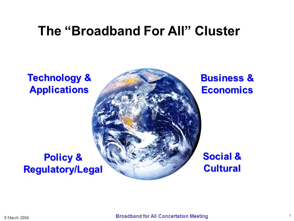 1 9 March 2004 Broadband for All Concertation Meeting The Broadband For All Cluster Business & Economics Technology & Applications Policy & Regulatory/Legal Social & Cultural
