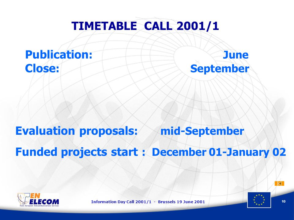 Information Day Call 2001/1 - Brussels 19 June 2001 10 TIMETABLE CALL 2001/1 Publication : June Close : September Evaluation proposals : mid-September