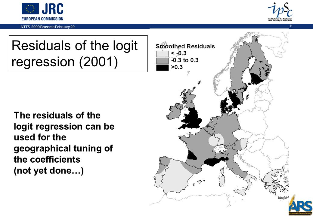 NTTS 2009 Brussels February 20 11 Residuals of the logit regression (2001) The residuals of the logit regression can be used for the geographical tuning of the coefficients (not yet done…)