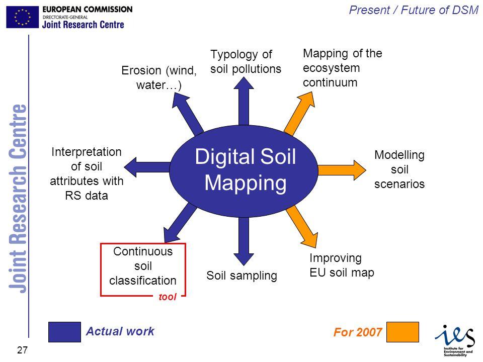 JRC Ispra - IES 27 Digital Soil Mapping Soil sampling Continuous soil classification Interpretation of soil attributes with RS data Erosion (wind, wat