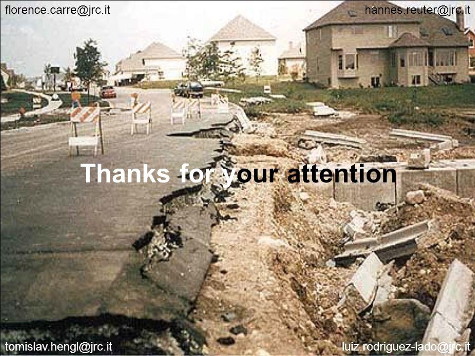 JRC Ispra - IES 29 Thanks for your attention florence.carre@jrc.it tomislav.hengl@jrc.it hannes.reuter@jrc.it luiz.rodriguez-lado@jrc.it