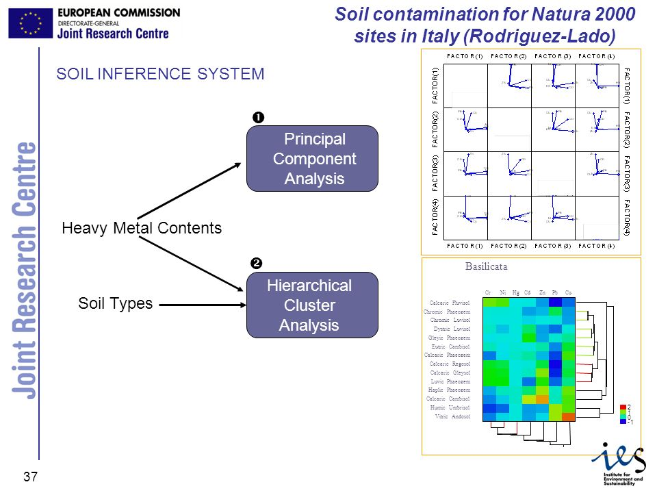 JRC Ispra - IES 37 SOIL INFERENCE SYSTEM Principal Component Analysis Soil contamination for Natura 2000 sites in Italy (Rodriguez-Lado) Soil Types Hi