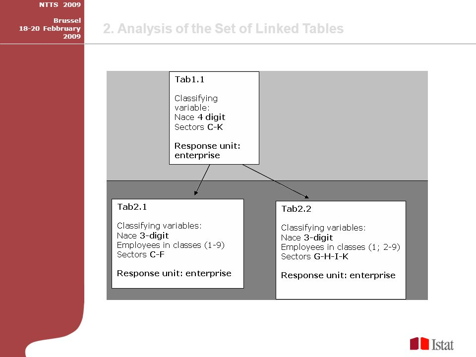 2. Analysis of the Set of Linked Tables NTTS 2009 Brussel 18-20 Febbruary 2009