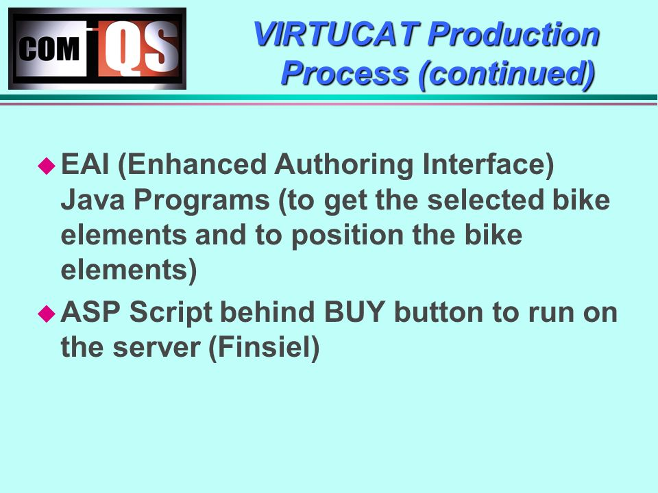 VIRTUCAT Production Process (continued) EAI (Enhanced Authoring Interface) Java Programs (to get the selected bike elements and to position the bike elements) ASP Script behind BUY button to run on the server (Finsiel)