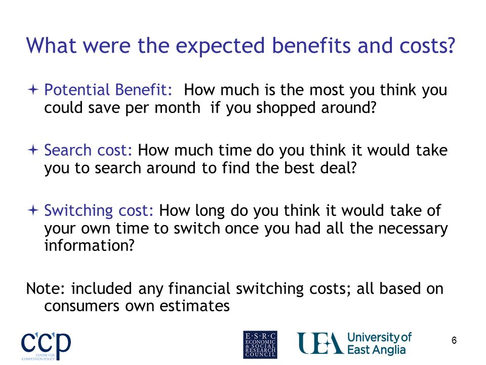 6 What were the expected benefits and costs.