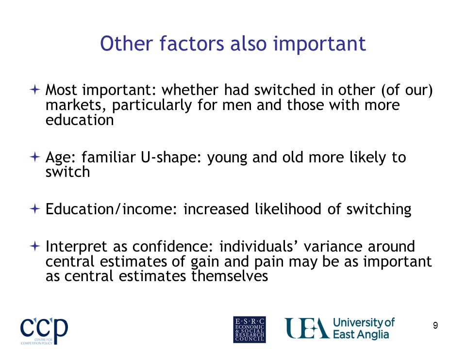 9 Other factors also important Most important: whether had switched in other (of our) markets, particularly for men and those with more education Age: familiar U-shape: young and old more likely to switch Education/income: increased likelihood of switching Interpret as confidence: individuals variance around central estimates of gain and pain may be as important as central estimates themselves