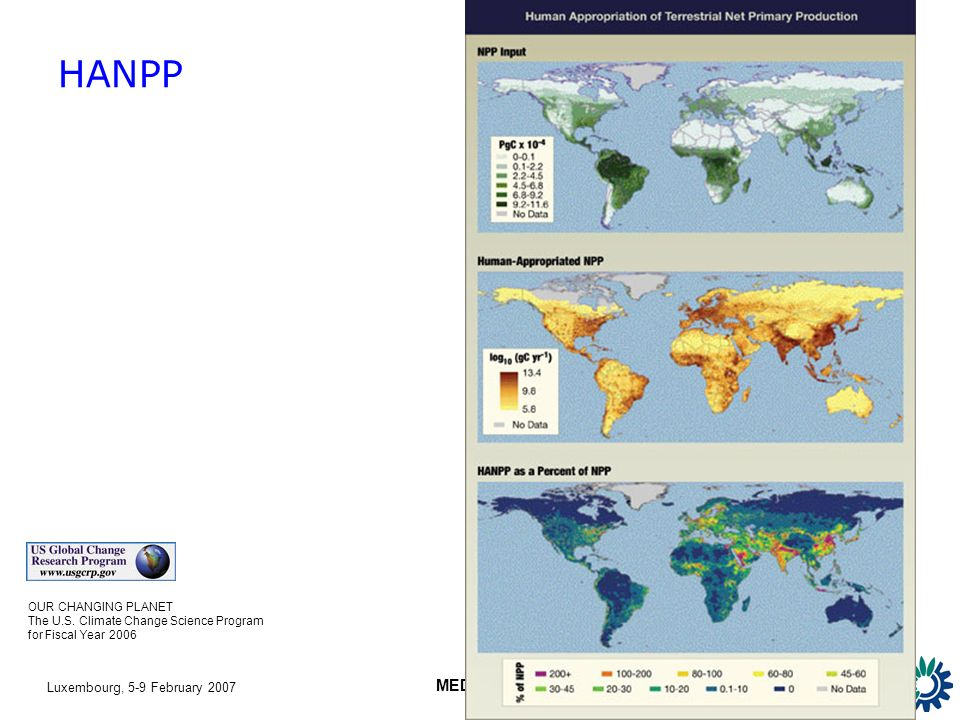 Luxembourg, 5-9 February 2007 MEDSTAT II HANPP OUR CHANGING PLANET The U.S.