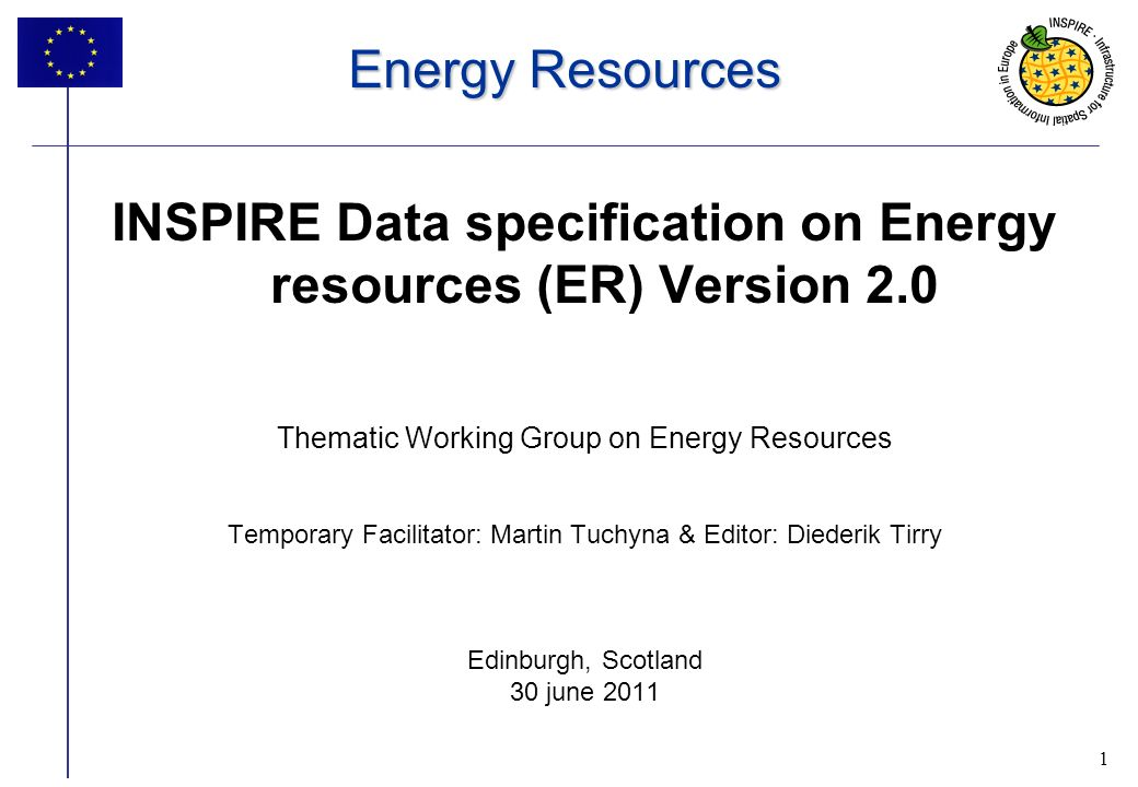 1 Energy Resources INSPIRE Data specification on Energy resources (ER) Version 2.0 Thematic Working Group on Energy Resources Temporary Facilitator: Martin Tuchyna & Editor: Diederik Tirry Edinburgh, Scotland 30 june 2011 1