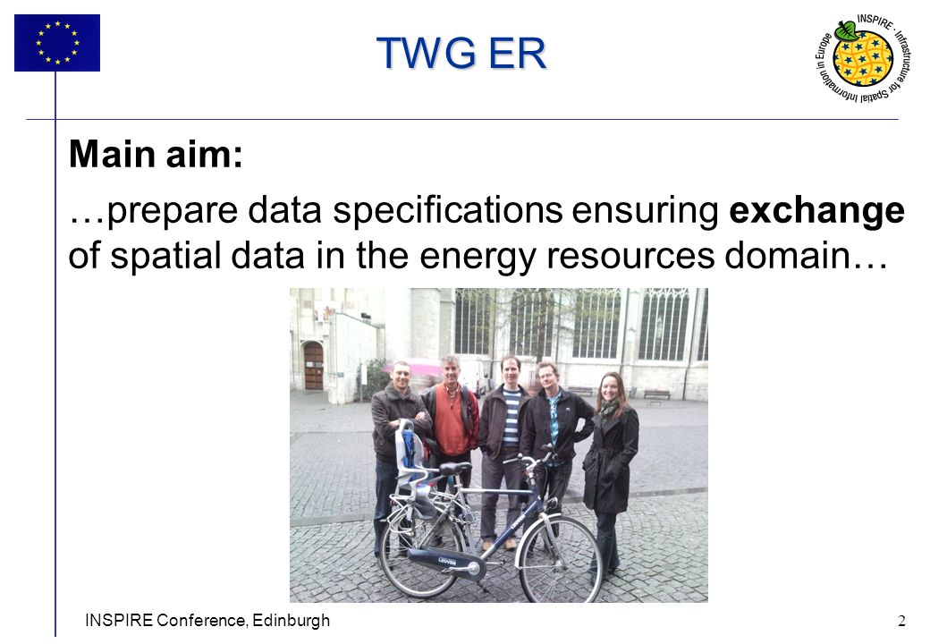 2 INSPIRE Conference, Edinburgh 2 Main aim: …prepare data specifications ensuring exchange of spatial data in the energy resources domain… TWG ER