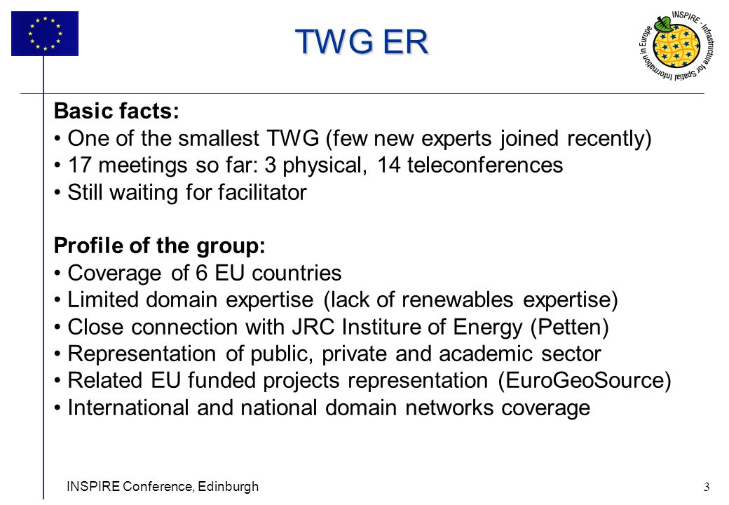 3 INSPIRE Conference, Edinburgh 3 Basic facts: One of the smallest TWG (few new experts joined recently) 17 meetings so far: 3 physical, 14 teleconferences Still waiting for facilitator Profile of the group: Coverage of 6 EU countries Limited domain expertise (lack of renewables expertise) Close connection with JRC Institure of Energy (Petten) Representation of public, private and academic sector Related EU funded projects representation (EuroGeoSource) International and national domain networks coverage TWG ER