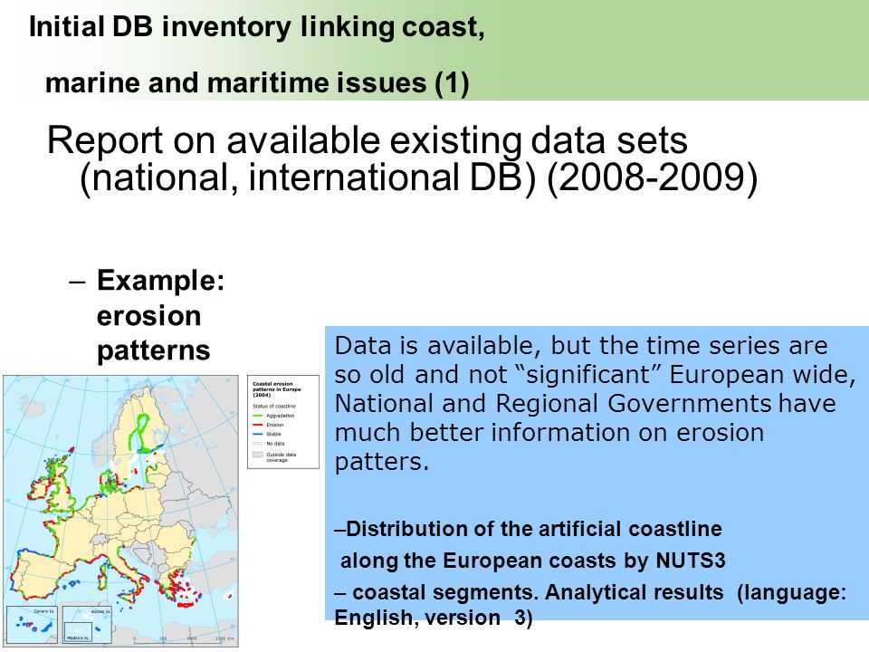 INDEX erosion patterns Initial DB inventory linking coast, marine and maritime issues (1) Report on available existing data sets (national, internatio